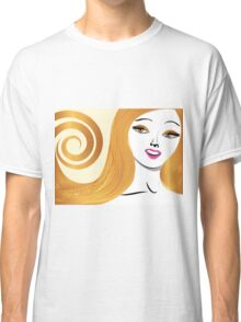 Blond girl with yellow eyes Classic T-Shirt