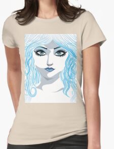 Fantasy blue haired girl Womens Fitted T-Shirt