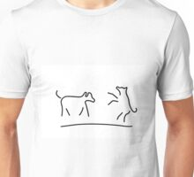 dogs play domestic animal Unisex T-Shirt