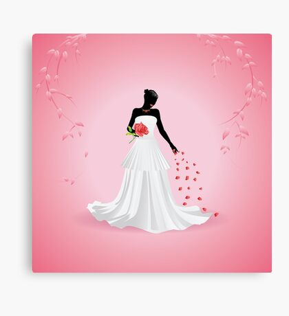 Bride silhouette Canvas Print