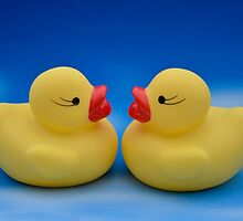 Cute Kids Bath Time Yellow Rubber Ducks Blue Sky by HotHibiscus
