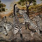 """Zebra Stallions"" - Oil Painting by Avril Brand"