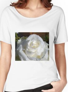 Close up of white rose 14 Women's Relaxed Fit T-Shirt