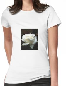 Close up of white rose 14 Womens Fitted T-Shirt