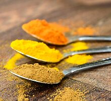 Chilli Cumin Turmeric Indian Spices on Silver Spoons by HotHibiscus
