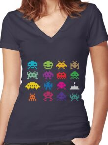 Space Invaders 8-Bit Women's Fitted V-Neck T-Shirt