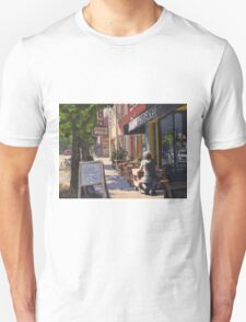 """In the Morning Sun"" Street Scene Painting Unisex T-Shirt"