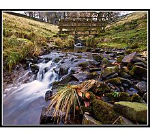 Footbridge and stream near Downham Photographic Print