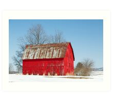 Red Barn and Snow Art Print