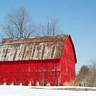 Red Barn and Snow by Kenneth Keifer