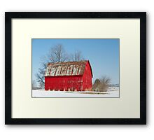 Red Barn and Snow Framed Print