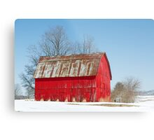 Red Barn and Snow Metal Print