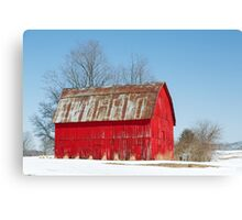 Red Barn and Snow Canvas Print