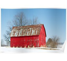 Red Barn and Snow Poster