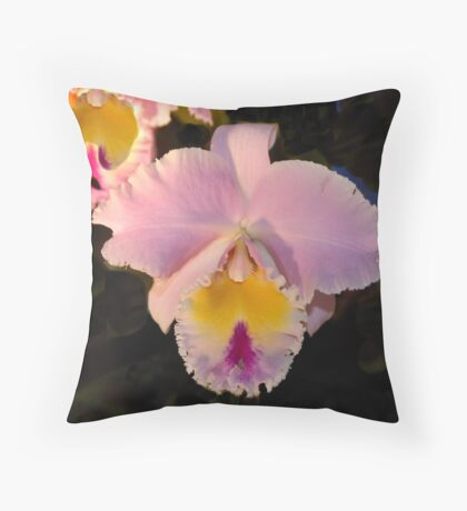 Pink Orchid -  Blue Ribbon Throw Pillow