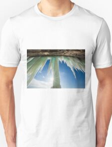Sun Burst on Grand Island Ice Curtain near Munising Michigan Unisex T-Shirt