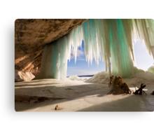 Cavern behind ice curtains on Grand Island on Lake Superior Canvas Print