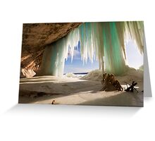 Cavern behind ice curtains on Grand Island on Lake Superior Greeting Card