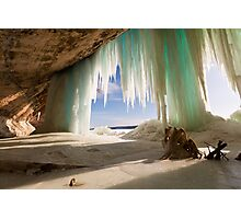 Cavern behind ice curtains on Grand Island on Lake Superior Photographic Print