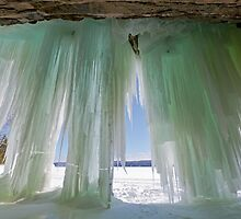 Ice Curtains on Grand Island near Munising Michigan by Craig Sterken