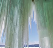 Ice Curtains on Grand Island near Munising Michigan Sticker