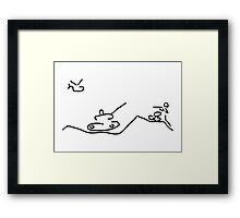 war with helicopter tank and gun shooter Framed Print