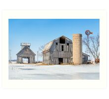 Snowy Farm Scene Art Print