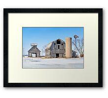 Snowy Farm Scene Framed Print