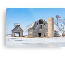 Snowy Farm Scene Metal Print