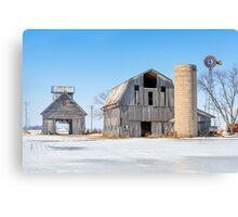 Snowy Farm Scene Canvas Print