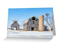 Snowy Farm Scene Greeting Card