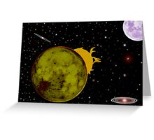 TWO MOONS AND SOLAR FLAIRS Greeting Card