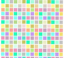 pink squares pattern aqua by chicamarsh1