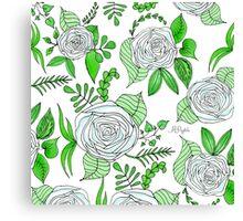 Sky + Lime // Floral Print Canvas Print