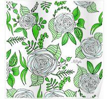 Sky + Lime // Floral Print Poster