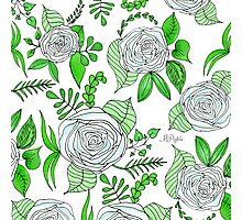 Sky + Lime // Floral Print Photographic Print