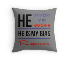HE IS MY BIAS Rapmon - Grey Throw Pillow