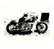Biker Cat Fun Merchandise Art Print