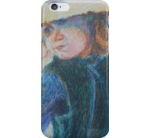 Big Hat - A Girl In A Blue Outfit iPhone Case/Skin