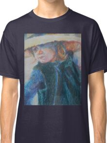 Big Hat - A Girl In A Blue Outfit Classic T-Shirt