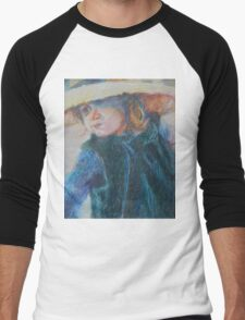 Big Hat - A Girl In A Blue Outfit Men's Baseball ¾ T-Shirt