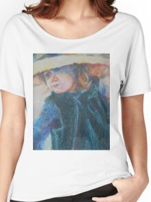Big Hat - A Girl In A Blue Outfit Women's Relaxed Fit T-Shirt