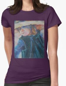 Big Hat - A Girl In A Blue Outfit Womens Fitted T-Shirt