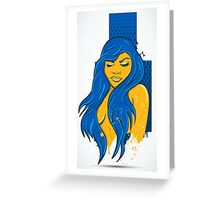 Birds with the Blue hair beauty  Greeting Card