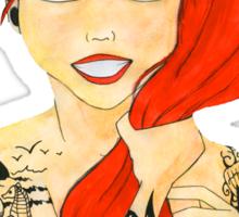 Tattooed Ariel (cutout) - red hair Sticker