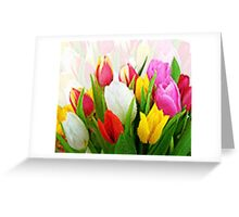 Colorful Tulips Pixelate Greeting Card