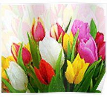 Colorful Tulips Pixelate Poster