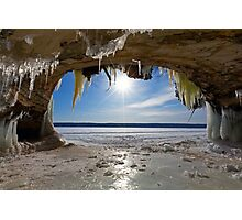 Lake Superior Cave on Grand Island in Winter - Munising Michigan Photographic Print
