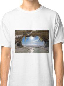 Lake Superior Cave on Grand Island in Winter - Munising Michigan Classic T-Shirt