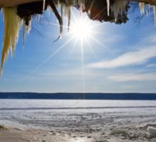 Lake Superior Cave on Grand Island in Winter - Munising Michigan Sticker